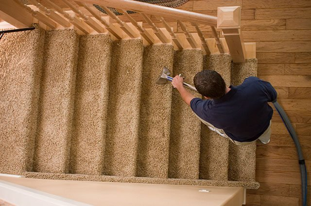 Freshen Up Chem-Dry Technician performing Carpet Cleaning Service on stairs